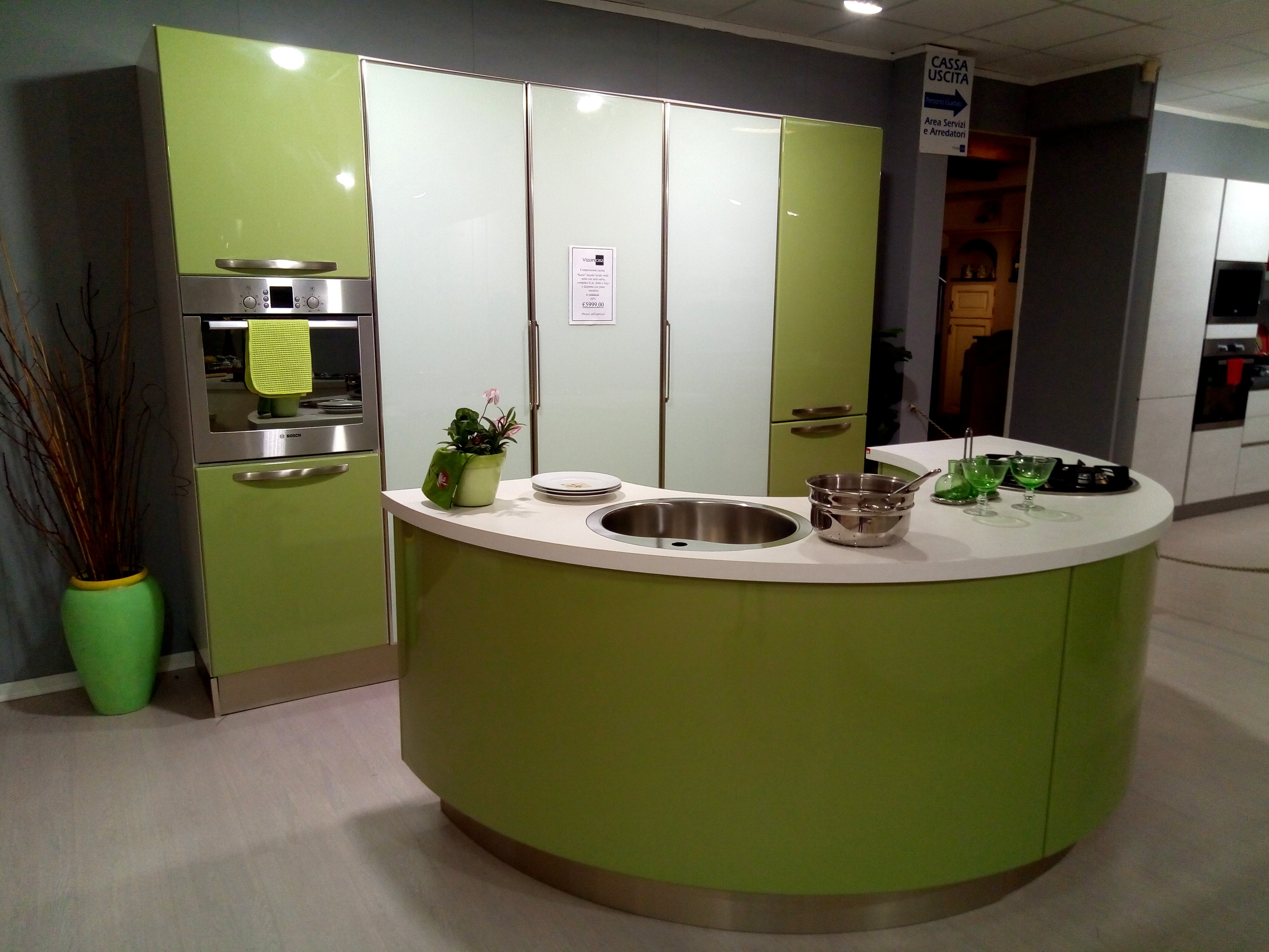 Cucina Lube Katia laccata verde mela - Vissani Casa