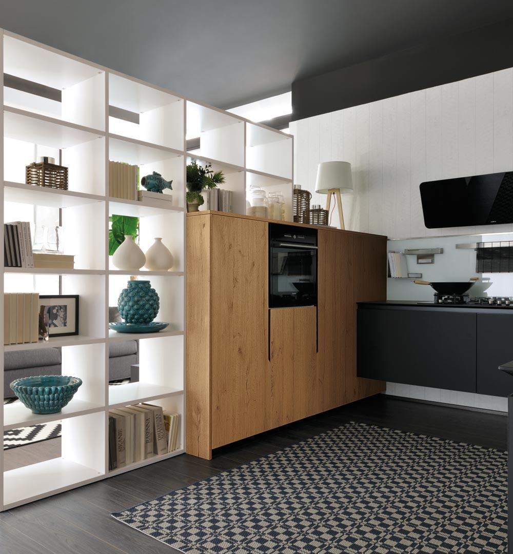 Cucina lube oltre nera rovere vissani casa - Cucina nera legno ...