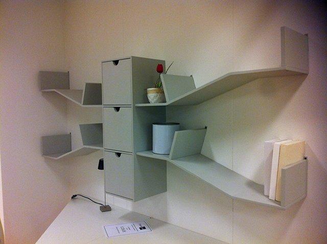 Scrivania e libreria grigie - Vissani Casa